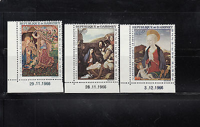 Dahomey 1966 Christmas Paintings  Sc C46-C48  complete Mint Never Hinged