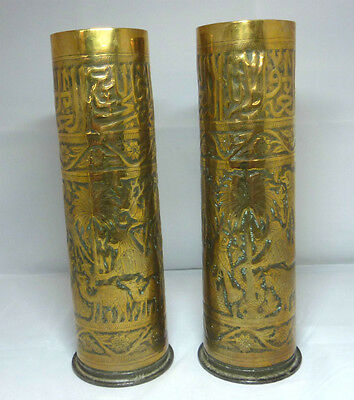 WW1 Trench Art Brass Shell Case Vases - Egyptian Cairoware Middle East Arabic