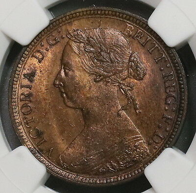 1885 NGC MS 63 RB Victoria 1/2 Penny GREAT BRITAIN Coin (16112605C)
