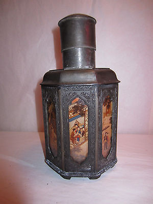 Antique Chinese Pewter & Reverse Painted Glass Tea Caddy Jar Chao Yan Tan Yongli