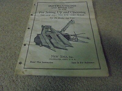 Vintage 1946 New Idea Two Row Corn Picker Instructions and Repair List