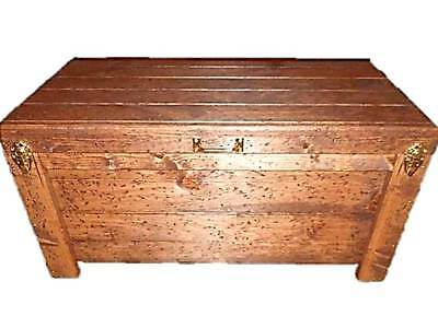 Wood Hope Chest Coffee Table Blanket Storage Knotty Pine Toy Box