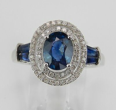 Sapphire and Diamond Double Halo Engagement Ring 14K White Gold Size 7.25