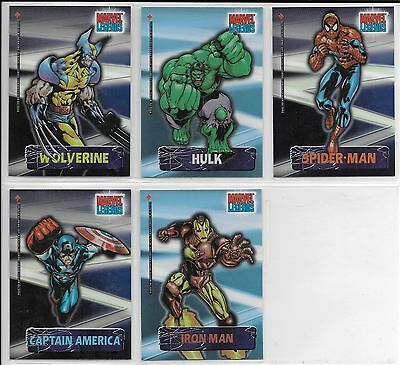 Marvel Legends SECRET IDENTITY Complete 1-5 Insert Chase Card Sticker Set 2001