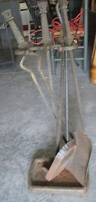 Antique Iron 5 Piece Andiron Fire Place Tool Set
