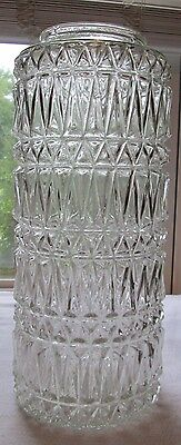 "Vintage Large 14"" Tall Pressed Glass Ceiling Light Fixture Shade"