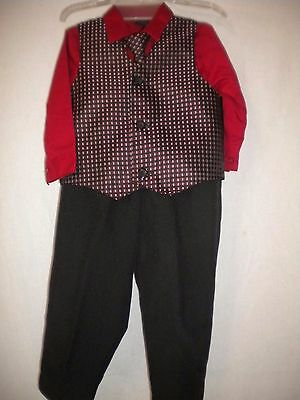 TFW Baby Size 24 Month 4 Piece Red/Black/White Pants, Vest, Tie, Shirt Boys Set