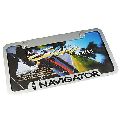Lincoln Navigator Notched Chrome Brass  License Plate Frame