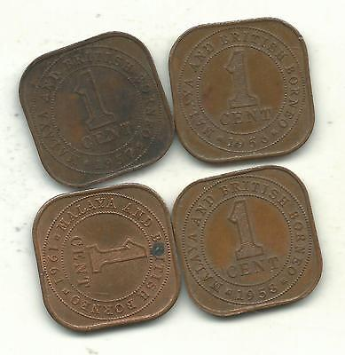 A Lot Of 4 Very Nice British Borneo One Cent-Square-1956,1957,1958,1961-Jul635