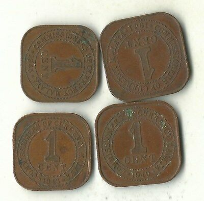 A Lot Of 4 Very Nice Malaysia One Cent-Square-1940,1941,1943,1945-Jul520