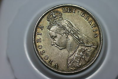 Uk Gb Half Crown 1887 Victoria Silver High Grade Better On Hand A59 #8655