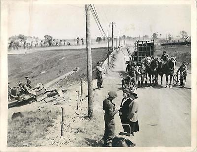 WWII British Soldiers Check Civilians & Inspect Downed ME 109 in Normandy Photo