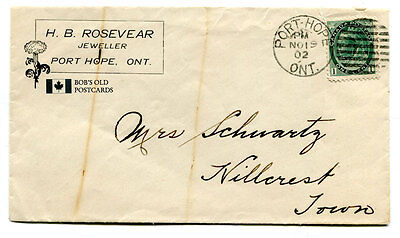 Port Hope Envelope 1902 from H.B. Rosevear Jeweller cancel Queen Victoria Stamp