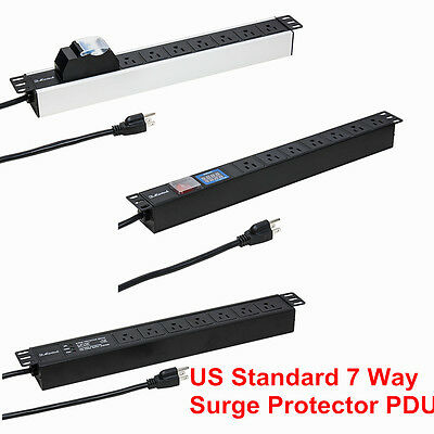 7 Way 15A Surge Protector US PDU 1U Rackmount Power Distribution Unit With LCD