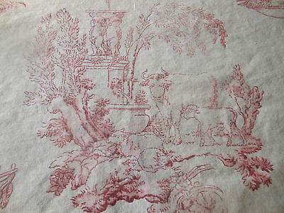 Antique French Faded Pastoral Toile Cotton Fabric ~ Red White ~ 1930's Dumas  #1