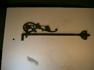 "Vintage 17-25"" Adjustable Ornate Cast Iron Banner Sign Flag Hanger Wall Bracket"