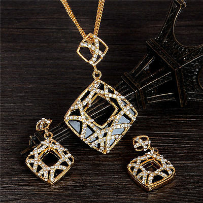 Fashion 18k Gold Filled Austrian Crystal jewelry sets necklace/earrings