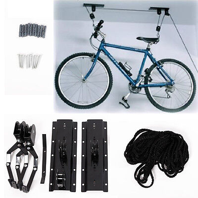 Ceiling Mounted Roof Bicycle Stand Storage System Rack Garage Pulley Racks
