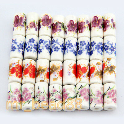 10Pcs Cylindrical Charm Flower Pattern Ceramic Porcelain Beads Loose Bead 9x17mm