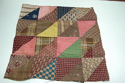 Antique Early Quilt Top Piece c 1830-1860 Fabrics Study F