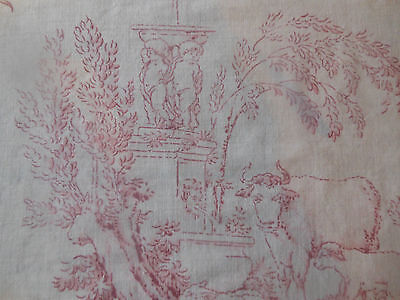 Antique French Faded Pastoral Toile Cotton Fabric ~ Berry Red  ~ 30's Dumas  #4