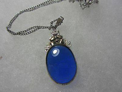 """Nditvintage Sterling """"lang"""" Necklace With Coblat Blue Stone  Marked 10K Sterling"""