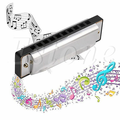 Blues Harmonica 10 Holes Key of C Musical Instrument Stainless Steel w/ Case New