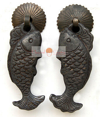 A Pair of Fish Handles Furniture Brass Drawer Pull Cabinet Handle Door Ring Knob