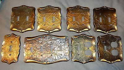 8 Vintage Amerock Brass Color Light Switch Outlet Cover Plates 2 & 4 Toggle Sa