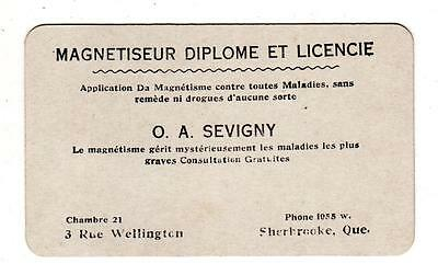 c1900 MAGNETIC CURE Quack Con Man's Business Card SHERBROOKE PQ CANADA in French