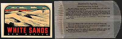 Vintage travel decal WHITE SANDS NEW MEXICO with the original envelope n-mint+