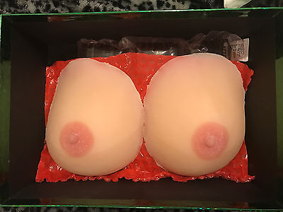 Realistic very soft silicone self-adhesive breast forms for crossdressers, C cup