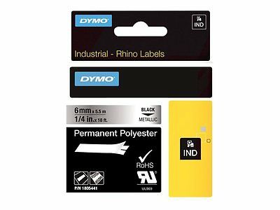 DYMO Rhino Permanent Polyester - Permanent adhesive polyester tape - bla 1805441