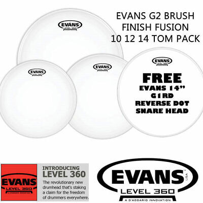 Evans G2 Coated Fusion + 14 inch Reverse Dot Snare Drum head skin pack 10 12 14