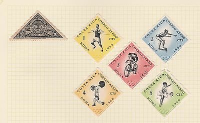 COSTA RICA Olympics etc on Old Book Pages (As Per Scan-page folded to send)