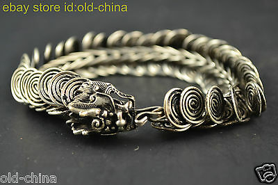 China Collectible Decorate Old Tibet Silver Carve Dragon Delicate Bracelet