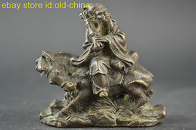 China Collectible Decor Old Copper Handwork God Man Ride Horse Noble Statue