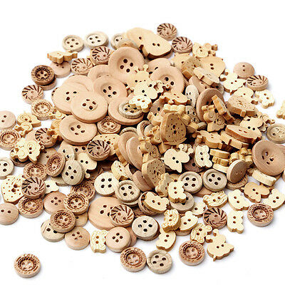 100pcs/lot 2 Holes Natural Color Mix Shape Wooden Pattern Wood Sewing Buttons