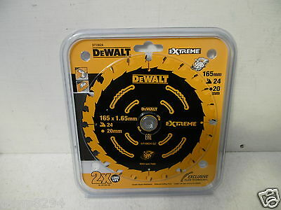 Dewalt Extreme Dt10624 165Mm X 20Mm Bore 24Tooth Tct Cordless Circular Saw Blade