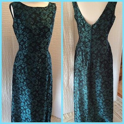 Vintage 1950/60s Black/Turquoise Floral Maxi Film Star Look Evening Dress