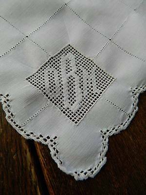 "Set 8 antique Victorian white Irish linen table napkins - monogram ""O.B.M"""