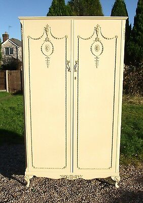 Cream Louis Style Two-Door Wardrobe with Drawers/Shelf/Rails/Mirror inside
