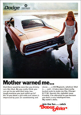 Dodge 68 Charger Rt Mopar Retro A3 Poster Print From Advert 1969
