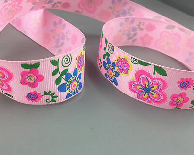"5/10/100 Yards 1""( 25mm) Flower pattern Grosgrain Ribbon Bow Crafts"