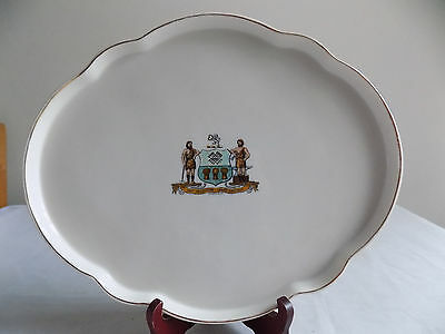 "GOSS CRESTWARE–""SHEFFIELD"" Vintage Oval DressingTable or Pin Tray.12x10"" pre1930"