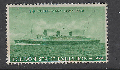 Ss Queen Mary - (5) - 1939 - London Stamp Exhibition - Ship - Cinderellas