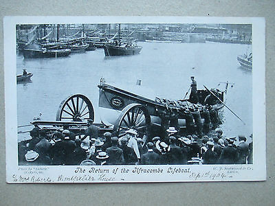 Devon Postcard : The Return of The ILFRACOMBE LIFEBOAT Dated 1904