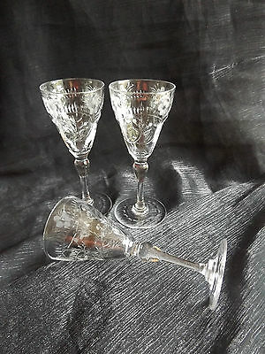 3 Cut Glass / Etched Sherry Liquor Glasses Unsigned Pattern ??