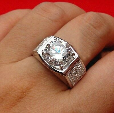 10K White Gold Flashed Round Cut 6MM Diamond Solitaire With Accents Men's Ring