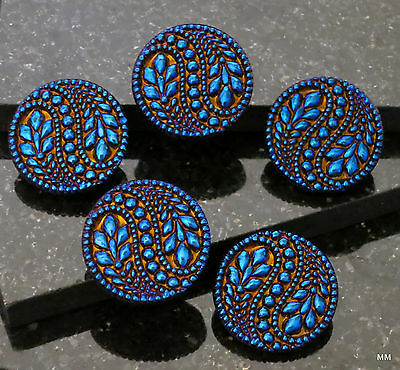 2 Big Bold Beautiful Czech Glass Buttons Vines,Flowers Deep Vibrant Cobalt Blue